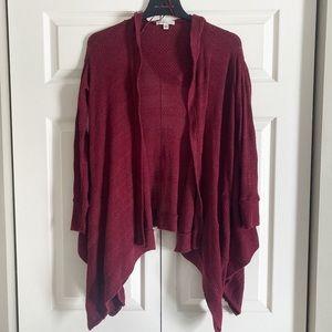 American Eagle Maroon Sweater cardigan draped